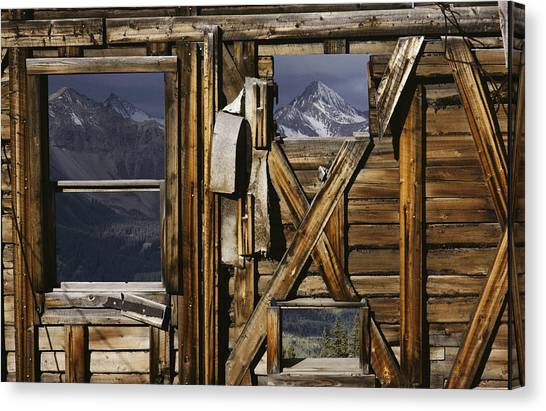 Passage Of Time Canvas Print - An Old Miners Shack With A View by Gordon Wiltsie
