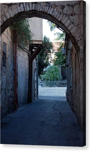 An Old Street In Jerusaem Canvas Print by Susan Heller
