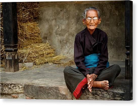An Old Woman In Bhaktapur Canvas Print