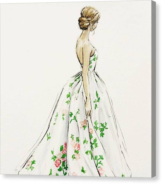 Wedding Canvas Print - Dressed In White And Roses by Anna Wijnands