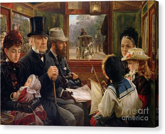 Gent Canvas Print - An Omnibus Ride To Piccadilly Circus, Mr Gladstone Travelling With Ordinary Passengers by Alfred Morgan