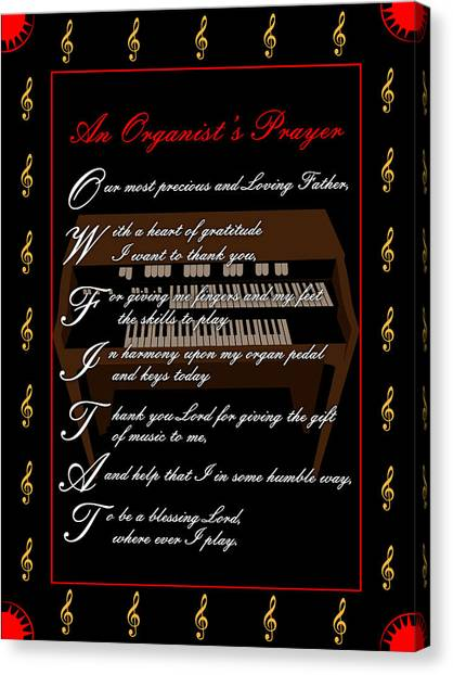 An Organists Prayer_1 Canvas Print by Joe Greenidge