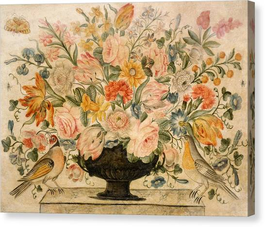 Rose In Bloom Canvas Print - An Urn Containing Flowers On A Ledge by Octavianus Montfort
