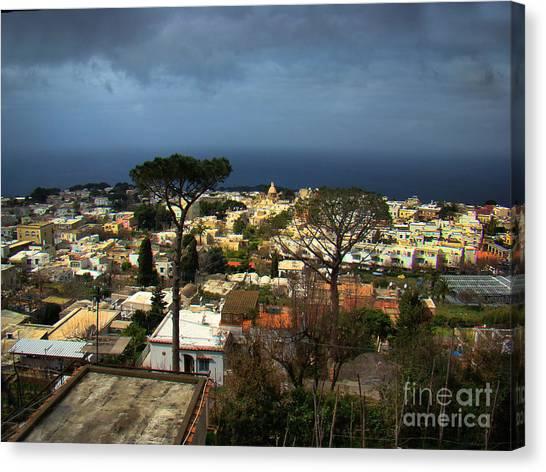 Chairlift Canvas Print - Anacapri, Italy by Al Bourassa