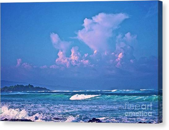 Anaeho'omalu Waves And Clouds Canvas Print