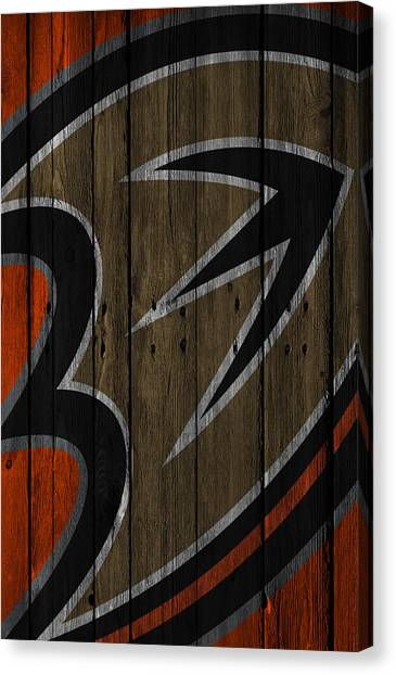 Anaheim Ducks Canvas Print - Anaheim Ducks Wood Fence by Joe Hamilton