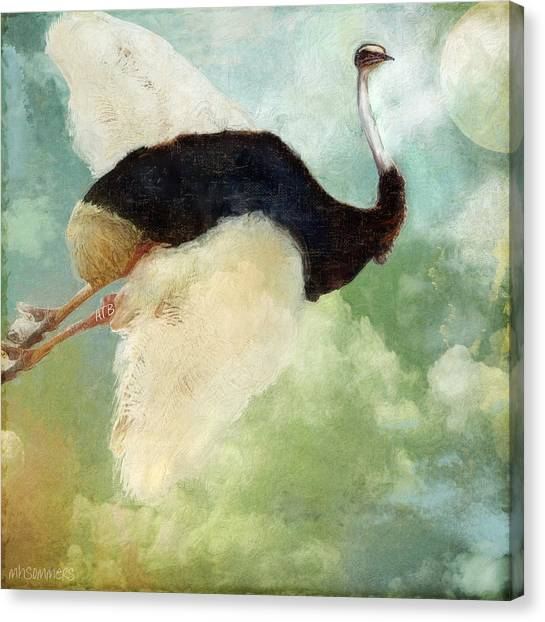 Ostriches Canvas Print - Anastasia's Ostrich by Mindy Sommers