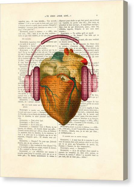Anatomy Canvas Print - Anatomical Heart And Headphonesin Color  by Madame Memento