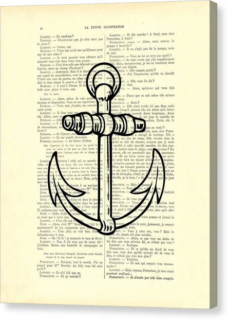 Black And White Canvas Print - Anchor Black Lines Old School Illustration by Madame Memento