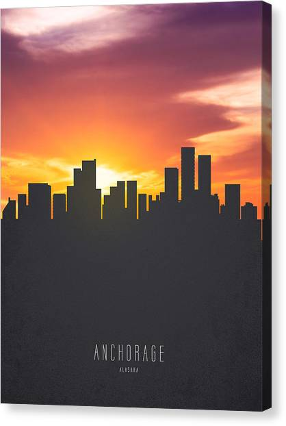 Skyline Canvas Print - Anchorage Alaska Sunset Skyline 01 by Aged Pixel