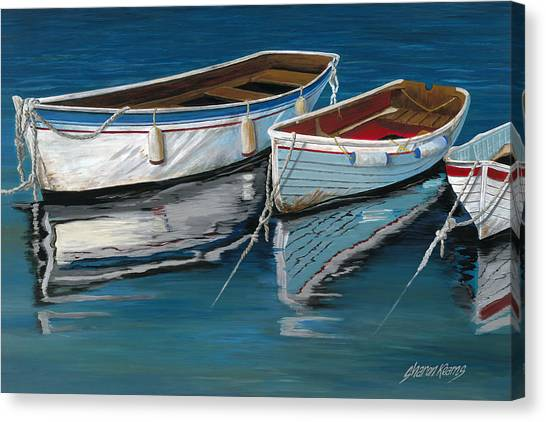 Fishing Boats Canvas Print - Anchored Reflections II by Sharon Kearns