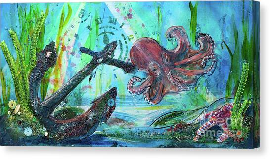 Canvas Print featuring the painting Anchors Away by TM Gand