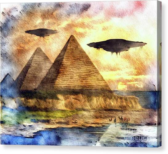 Ufo Canvas Print - Ancient Aliens And Ancient Egypt by Raphael Terra