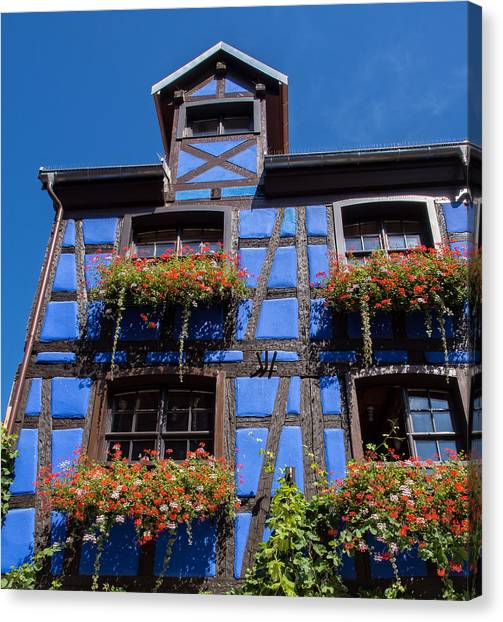 Ancient Alsace Auberge In Blue Canvas Print