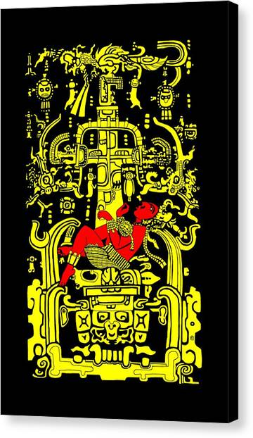 Ancient Astronaut Yellow And Red Version Canvas Print