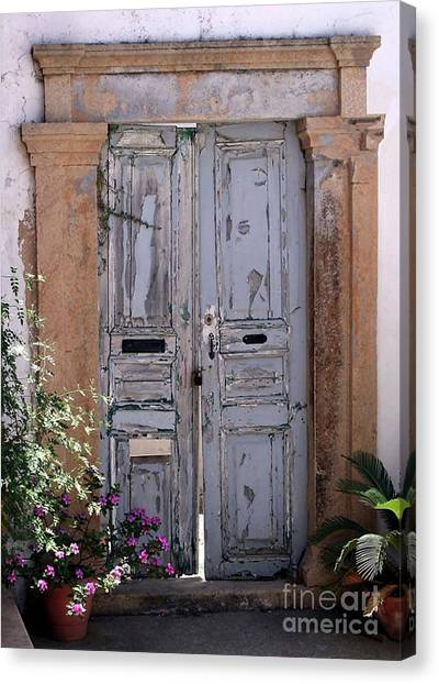 Ancient Garden Doors In Greece Canvas Print