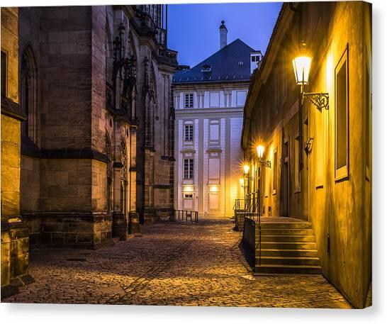 Ancient-like Dawn At Prague Castle Canvas Print by Marek Boguszak