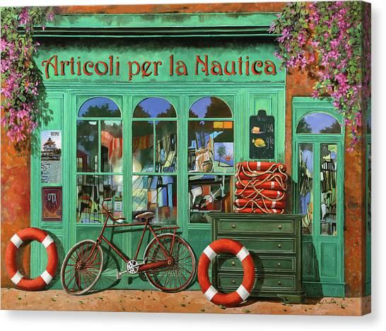 Shops Canvas Print - Ancora Una Bicicletta Rossa by Guido Borelli