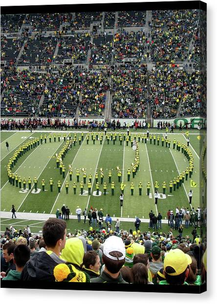 University Of Oregon Uo Canvas Print - And The Band Plays On by Two Small Potatoes