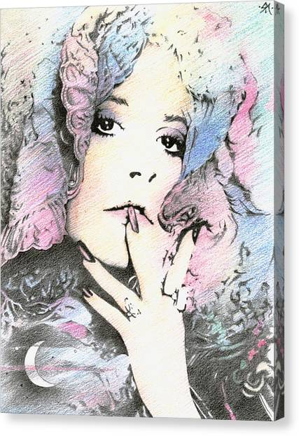 Stevie Nicks Canvas Print - And The Lady's Feeling Just Like The Moon... by Johanna Pieterman