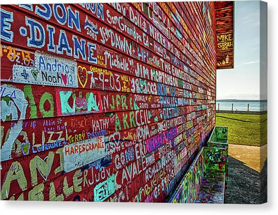 Canvas Print featuring the photograph Anderson Warehouse Graffiti  by Susan Rissi Tregoning