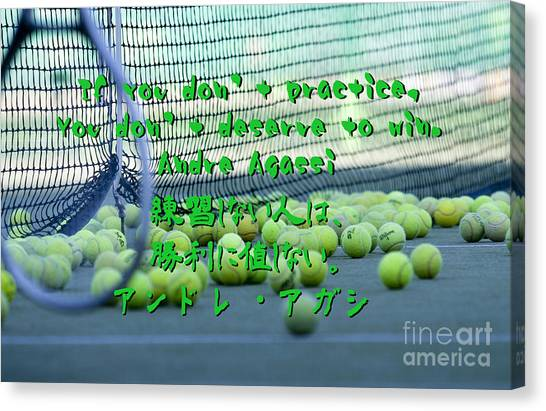 Andre Agassi Canvas Print - Andre Agassi Quote In Enlish And Japanese by Nobu Nihira