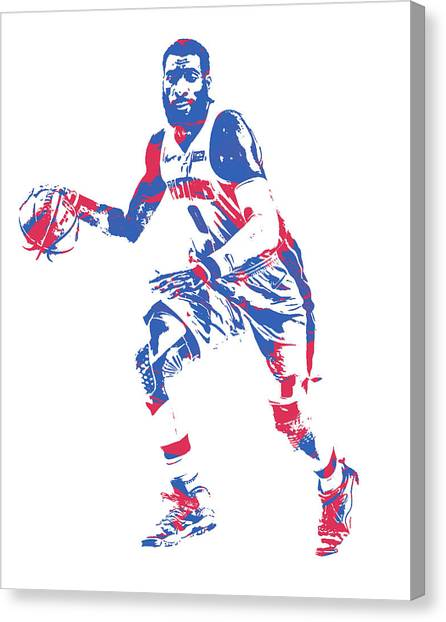 Detroit Pistons Canvas Print - Andre Drummond Detroit Pistons Pixel Art 20 by Joe Hamilton
