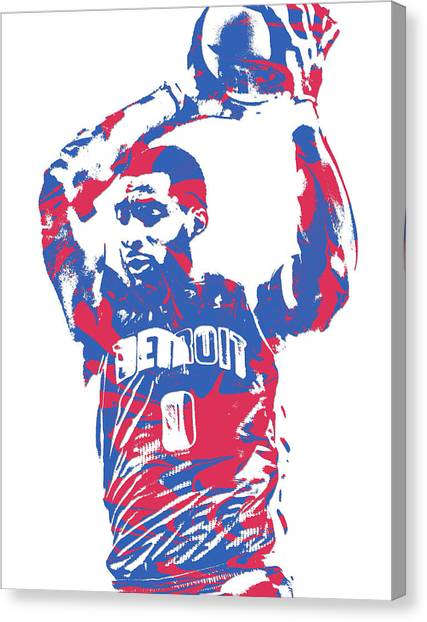 Detroit Pistons Canvas Print - Andre Drummond Detroit Pistons Pixel Art 5 by Joe Hamilton