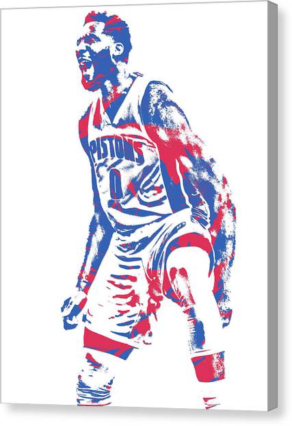 Detroit Pistons Canvas Print - Andre Drummond Detroit Pistons Pixel Art 6 by Joe Hamilton