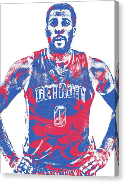 Detroit Pistons Canvas Print - Andre Drummond Detroit Pistons Pixel Art 7 by Joe Hamilton