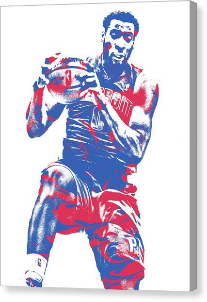 Detroit Pistons Canvas Print - Andre Drummond Detroit Pistons Pixel Art 8 by Joe Hamilton