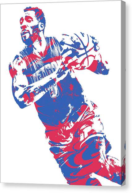 Detroit Pistons Canvas Print - Andre Drummond Detroit Pistons Pixel Art 9 by Joe Hamilton