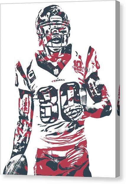 Houston Texans Canvas Print - Andre Johnson Houston Texans Pixel Art 1 by Joe Hamilton