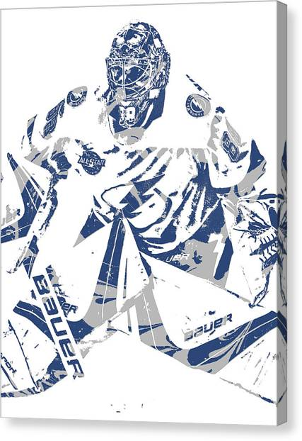 Tampa Bay Lightning Canvas Print - Andrei Vasilevskiy Tampa Bay Lightning Pixel Art 1 by Joe Hamilton