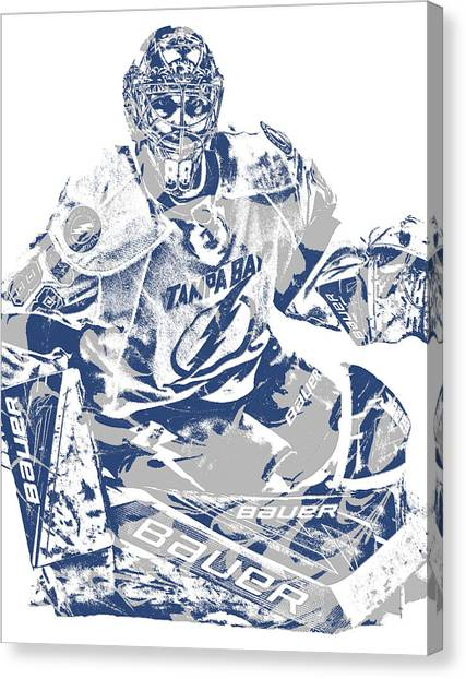 Tampa Bay Lightning Canvas Print - Andrei Vasilevskiy Tampa Bay Lightning Pixel Art 2 by Joe Hamilton