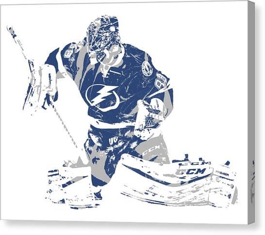 Tampa Bay Lightning Canvas Print - Andrei Vasilevskiy Tampa Bay Lightning Pixel Art 3 by Joe Hamilton