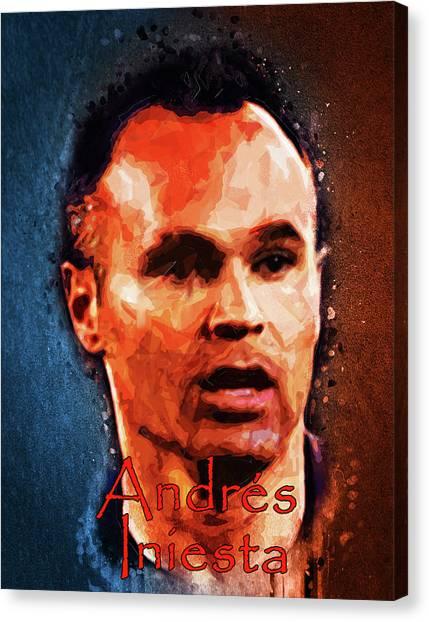 Andres Iniesta Canvas Print - Andres Iniesta by Edelberto Cabrera