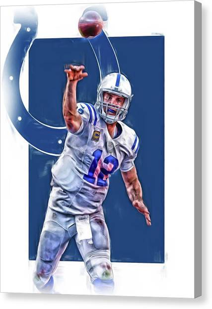 Indianapolis Colts Canvas Print - Andrew Luck Indianapolis Colts Oil Art 1 by Joe Hamilton