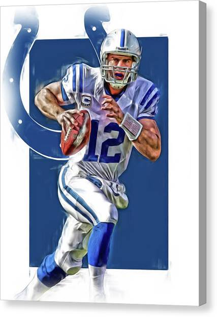 Indianapolis Colts Canvas Print - Andrew Luck Indianapolis Colts Oil Art by Joe Hamilton