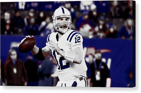 Ben Roethlisberger Canvas Print - Andrew Luck On Target by Brian Reaves