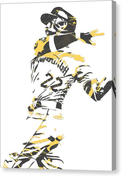 Pittsburgh Pirates Canvas Print - Andrew Mccutchen Pittsburgh Pirates Pixel Art 1 by Joe Hamilton