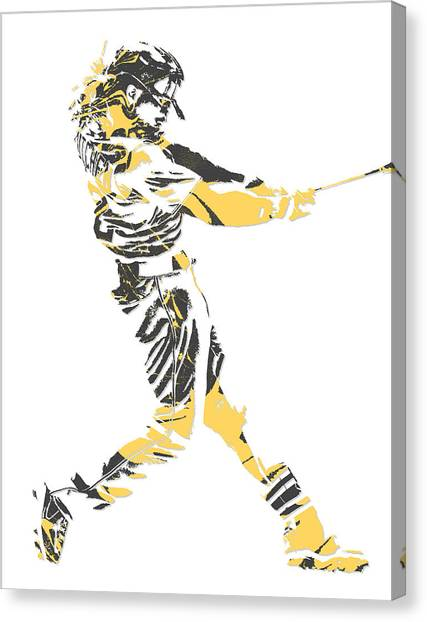 Pittsburgh Pirates Canvas Print - Andrew Mccutchen Pittsburgh Pirates Pixel Art 2 by Joe Hamilton