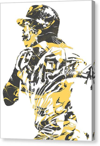 Pittsburgh Pirates Canvas Print - Andrew Mccutchen Pittsburgh Pirates Pixel Art 3 by Joe Hamilton