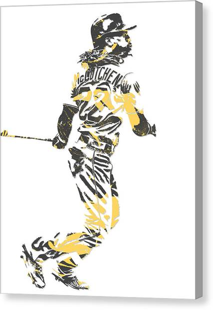 Pittsburgh Pirates Canvas Print - Andrew Mccutchen Pittsburgh Pirates Pixel Art 4 by Joe Hamilton