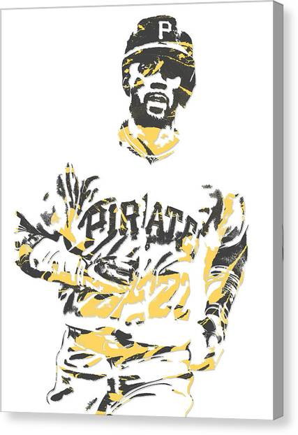 Pittsburgh Pirates Canvas Print - Andrew Mccutchen Pittsburgh Pirates Pixel Art 5 by Joe Hamilton