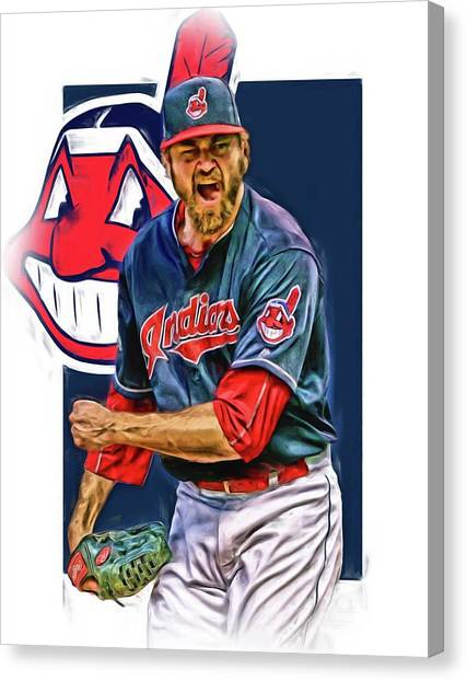 Cleveland Indians Canvas Print - Andrew Miller Cleveland Indians Oil Art by Joe Hamilton