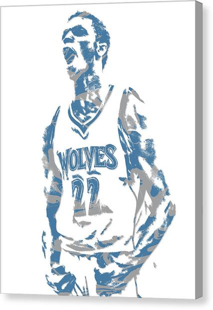 Minnesota Timberwolves Canvas Print - Andrew Wiggins Minnesota Timberwolves Pixel Art 1 by Joe Hamilton