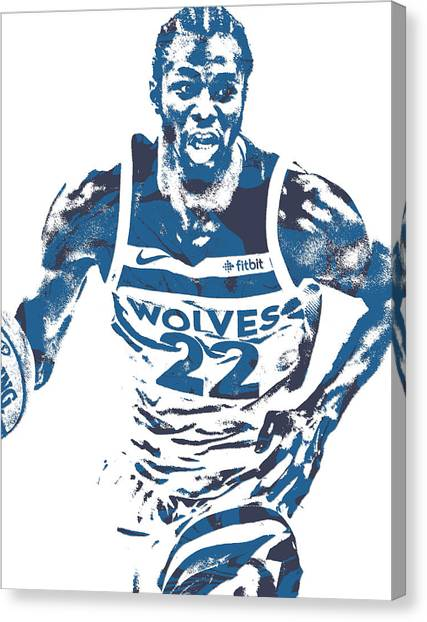 Minnesota Timberwolves Canvas Print - Andrew Wiggins Minnesota Timberwolves Pixel Art 10 by Joe Hamilton