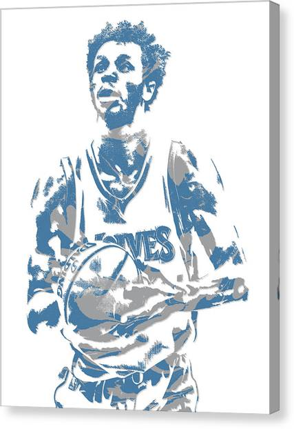 Minnesota Timberwolves Canvas Print - Andrew Wiggins Minnesota Timberwolves Pixel Art 12 by Joe Hamilton