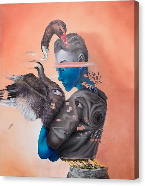 Canvas Print featuring the painting Androgenetic by Obie Platon
